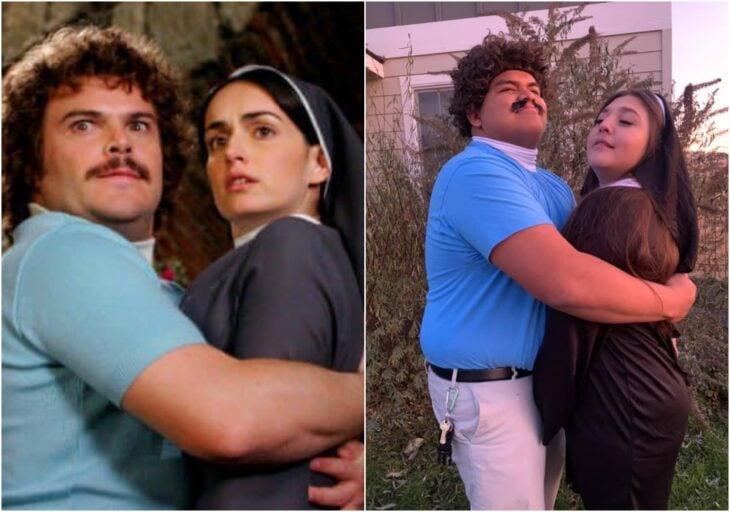 Disfraz de pareja inspirado en la película Nacho Libre