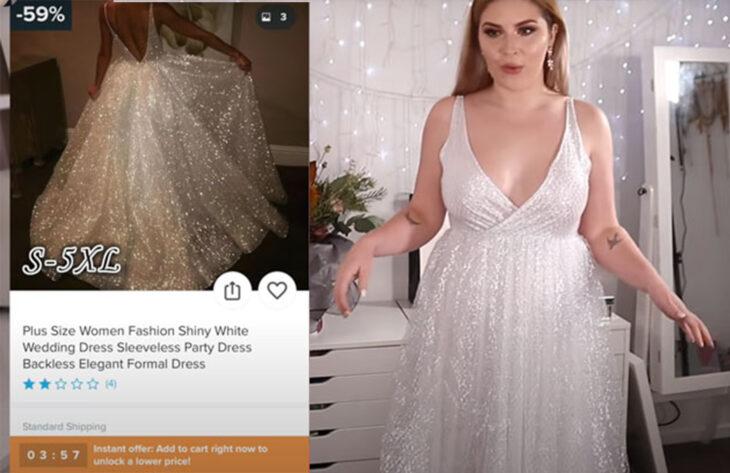 Chica usando un vestido lleno de brillos que compró en Wish por 30 dólares