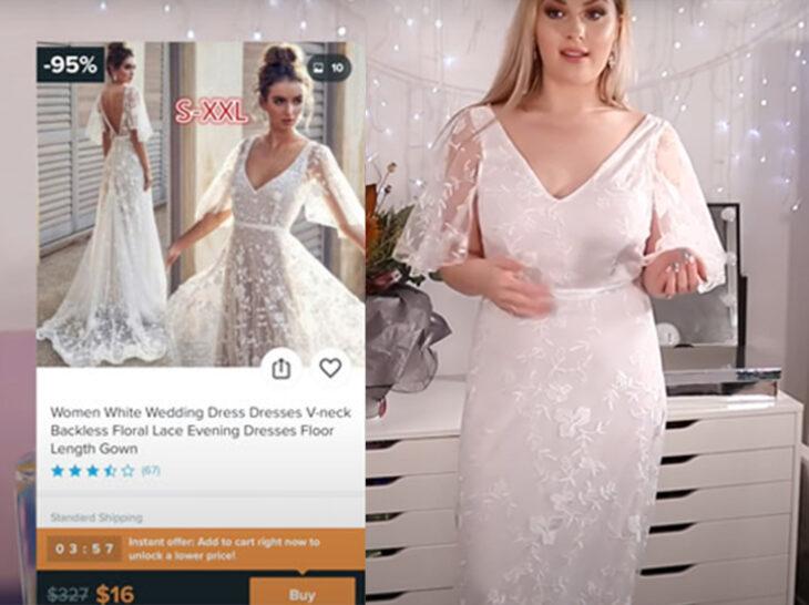 Chica usando un vestido de novia blanco con mangas hasta los codos y hecho de encaje