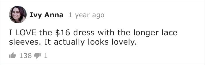 Comentarios en Instagram sobre vestidos de novia comprados en Internet