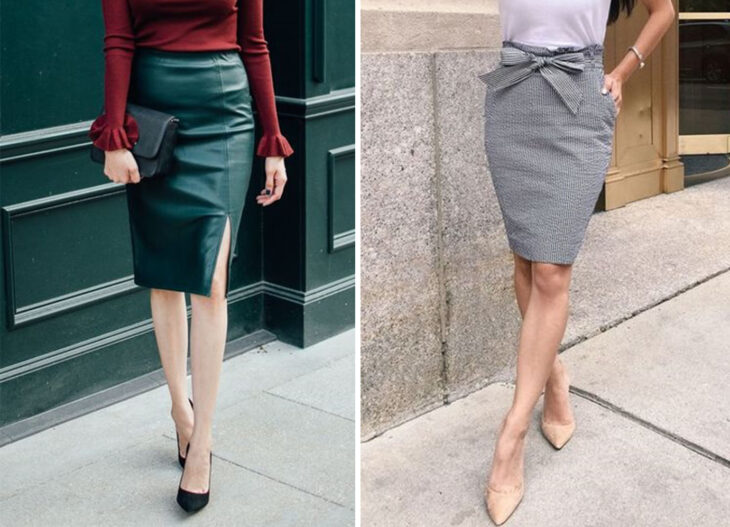 From left to right: Vinyl pencil skirt below the knee, with burgundy pleated skirt and black heels. And gray skirt at the knee with bow detail and nude heels