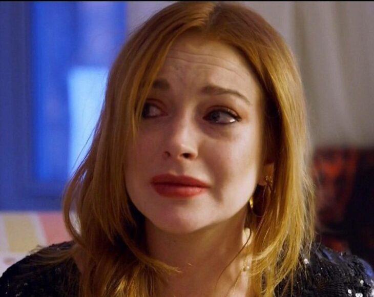Lindsay Lohan llorando durante una entrevista con Ophra