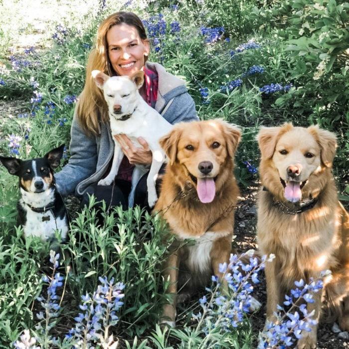 Famosos que han adoptado mascotas, perros o gatos; Hilary Swank en el jardín con sus perritos Lucky, Karoo, Rumi y Kai; golden retriever color miel y chihuahuas meztizos blanco y negro