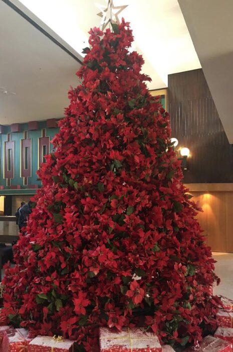 Pinito navideño decorado con noche buenas rojas; ideas para decorar tu arbolito de Navidad