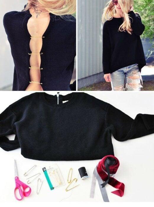 Chica con suéter negro decorado en la espalda con seguros