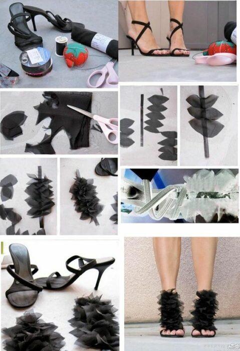 DIY sandalias negras de tacón decoradas con trozo de tela negra en la parte delantera