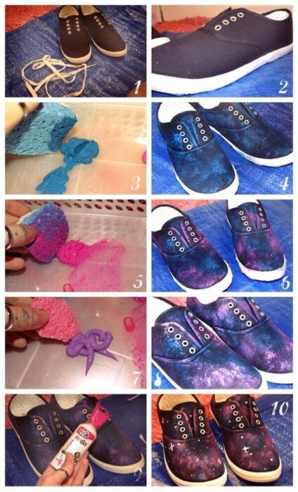 DIY tenis pintados estilo galaxia con pintura azul, rosa y morada y estrellas con pintura blanca