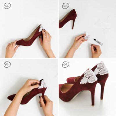 DIY para colocar una tela blanca en la parte trasera de zapatos rojos
