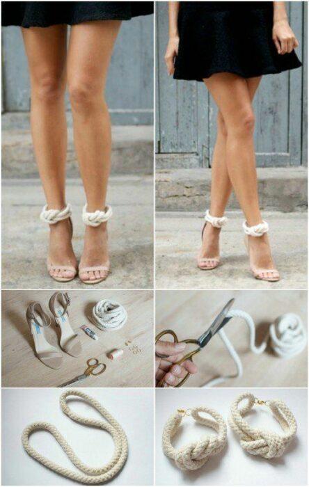 DIY decoración de sandalias de tacón con cuerda hecha nudo en el tobillo como decoración