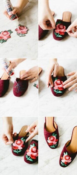 DIY zapatos de piso rojos con rosa pega con silicón frío