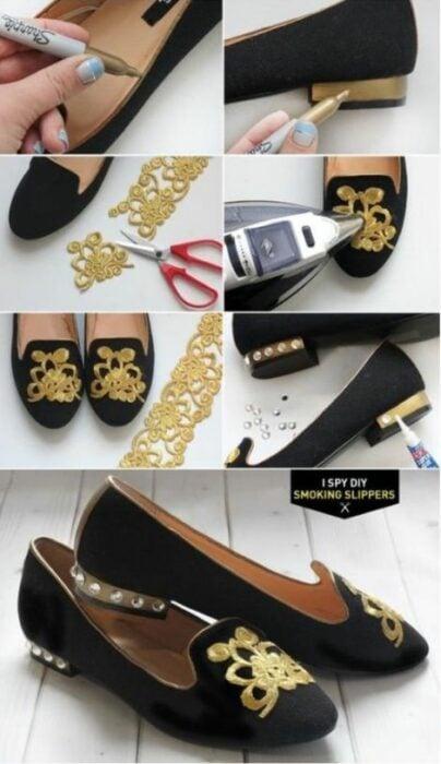 DIY zapatos negros de piso decorados con tela dorada pegada con silicón frío