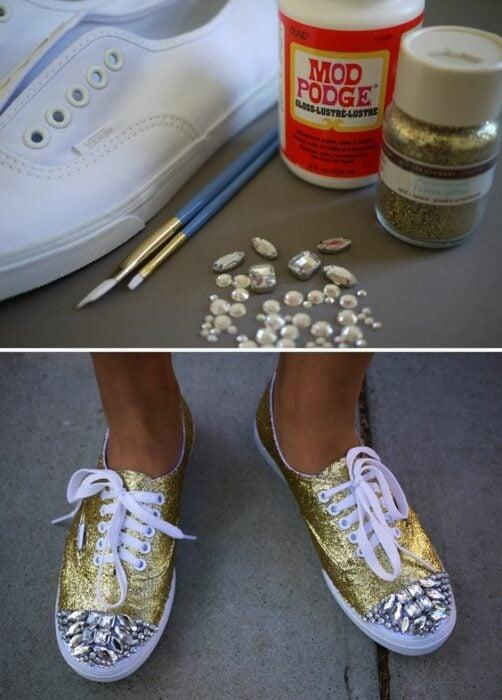DIY tenia blancos transformados con diamantina dorada y piedras plateadas brillantes