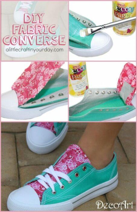DIY converse azul aqua con un trozo de tela rosa con flores blancas