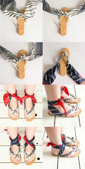 DIY sandalias de piso decoradas un pañuelo blanco con azul marino y rojo