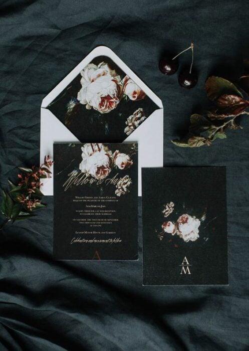 Invitación para boda en color negro