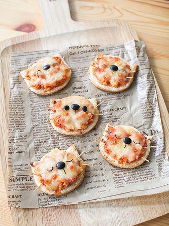 Pizzas individuales en forma de gato