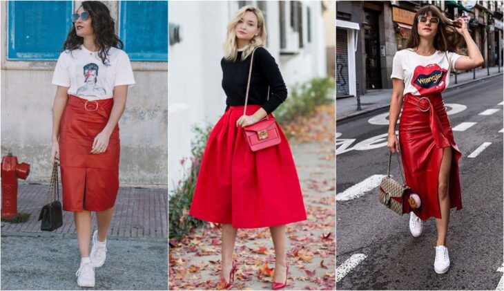 Women's skirts in red