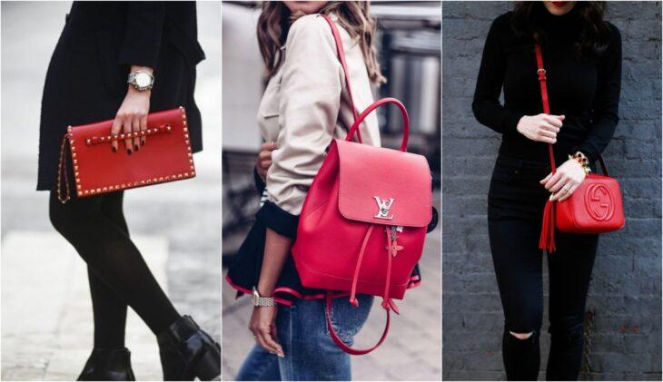 Mujeres usando bolsos en color rojo