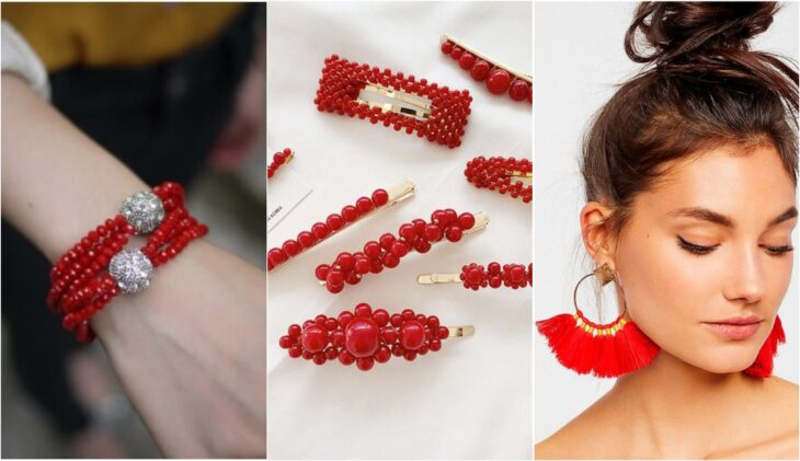 Accessories in red for hair and jewelry
