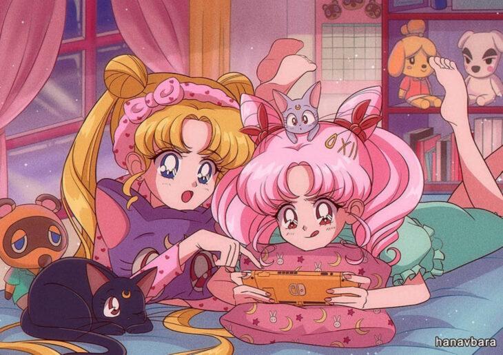 Artista hanavbara ilustra dibujos de personajes de series, películas o cantantes al estilo de Sailor Moon; Serena y Chibimoon