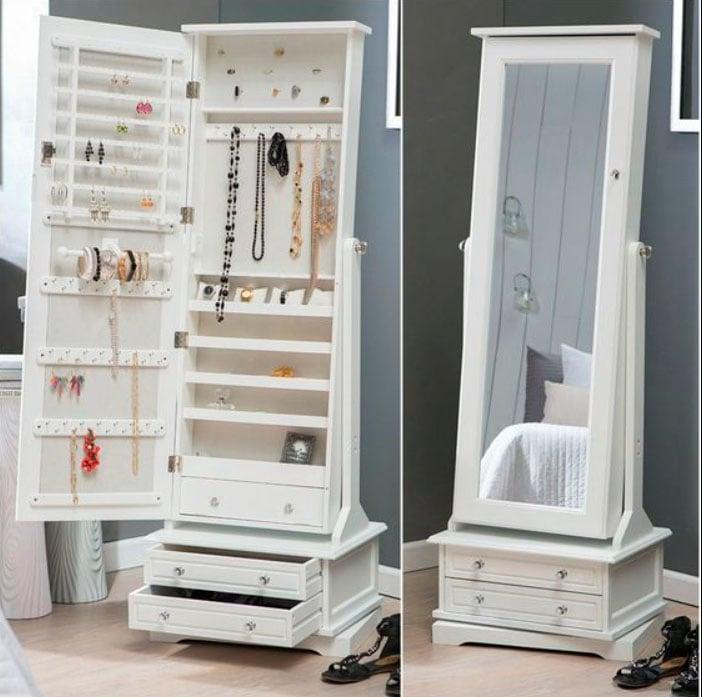 Joyero dentro de espejo de cuerpo completo con diferentes compartimentos en color blanco