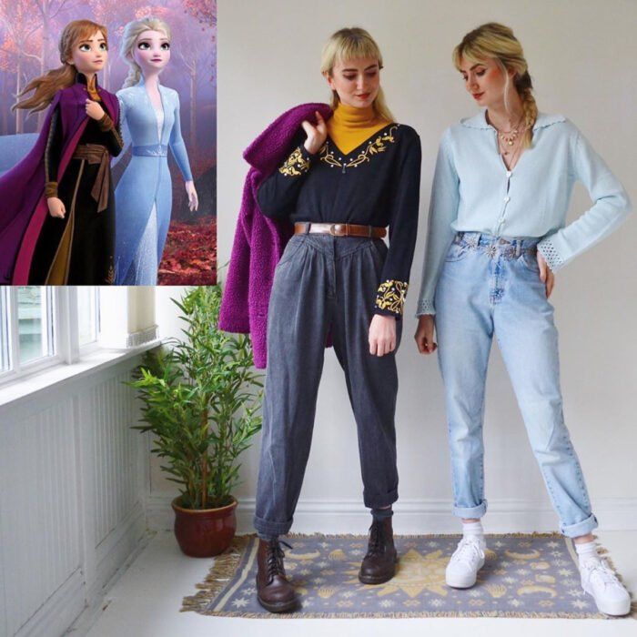 Hermanas gemelas arman atuendos inspirados en películas animadas y caricaturas con ropa vintage; Disney, Frozen, Anna y Elsa