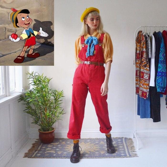 Hermanas gemelas arman atuendos inspirados en películas animadas y caricaturas con ropa vintage; Disney, Pinocho