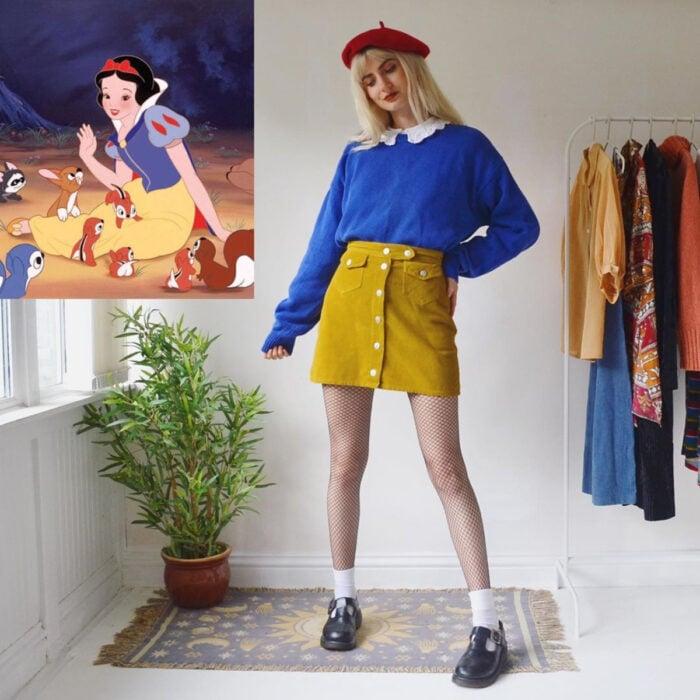 Hermanas gemelas arman atuendos inspirados en películas animadas y caricaturas con ropa vintage; Disney, Blancanieves