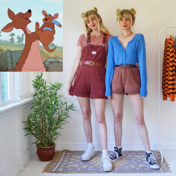 Hermanas gemelas arman atuendos inspirados en películas animadas y caricaturas con ropa vintage; Disney, Winnie Pooh, Cangu y Rito