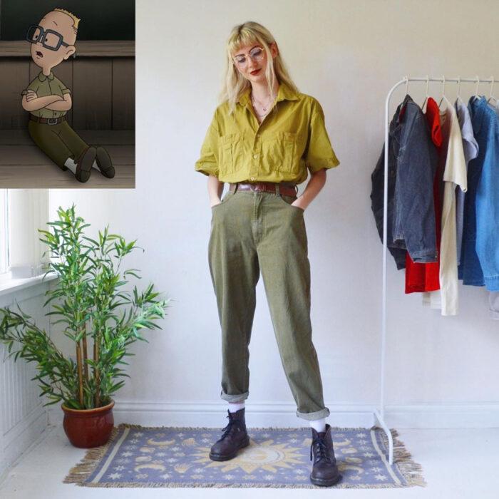 Hermanas gemelas arman atuendos inspirados en películas animadas y caricaturas con ropa vintage; El recreo, Gus