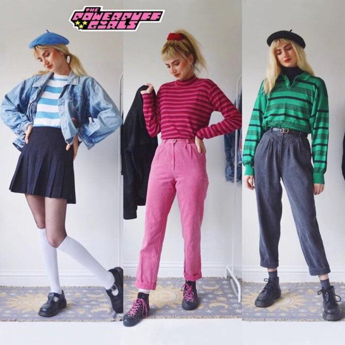 Hermanas gemelas arman atuendos inspirados en películas animadas y caricaturas con ropa vintage; Las chicas superpoderosas, Bombón, Burbuja y Bellota