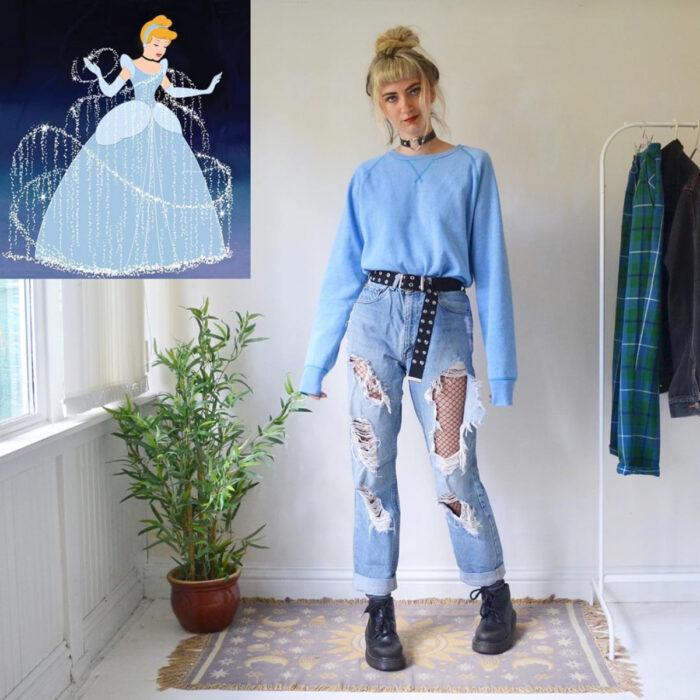 Hermanas gemelas arman atuendos inspirados en películas animadas y caricaturas con ropa vintage; Disney, Cenicienta