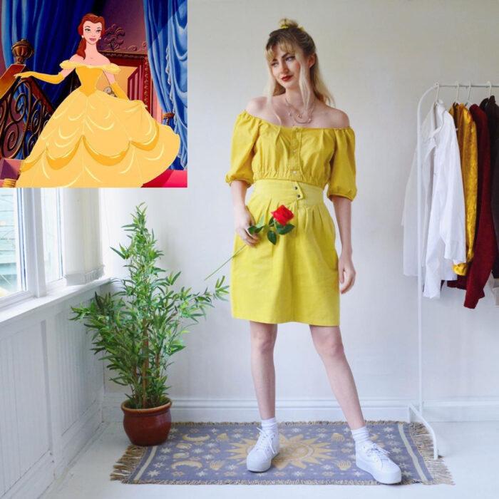 Hermanas gemelas arman atuendos inspirados en películas animadas y caricaturas con ropa vintage; Disney, La bella y la bestia, Bella, vestido amarillo
