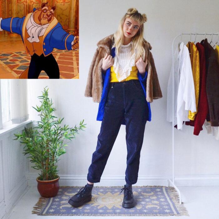 Hermanas gemelas arman atuendos inspirados en películas animadas y caricaturas con ropa vintage; Disney, La bella y la bestia