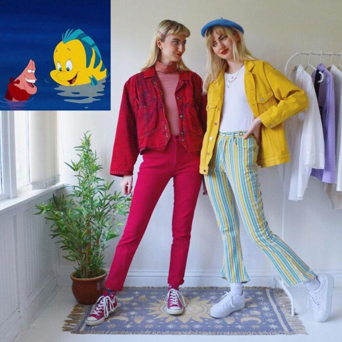 Hermanas gemelas arman atuendos inspirados en películas animadas y caricaturas con ropa vintage; Disney, La Sirenita, Flaunders y Sebastián