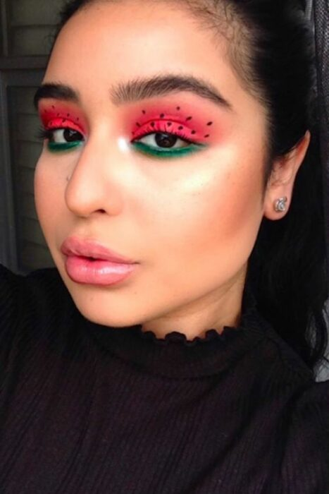Aesthetic makeup in shades of watermelon