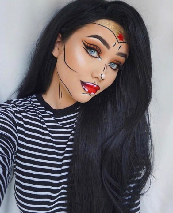 Girl with makeup for Halloween of Wonder Woman in pop art style