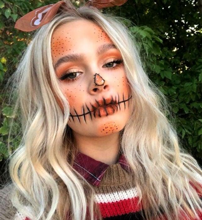 Maquillajes sencillos y creativos para Halloween; espantapájaros