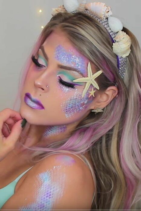 Girl made up as a mermaid
