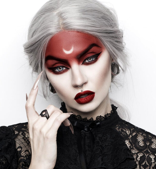 Simple and creative makeup for Halloween; red witch