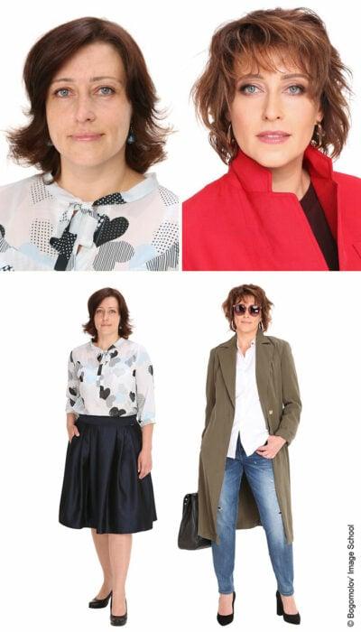 Mujer antes y después de un cambio de look radical con blazer largo en tono verde olivo