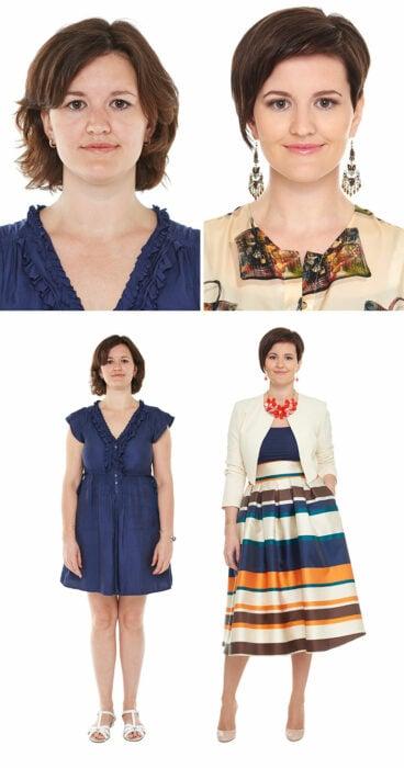 Mujer antes y después de un cambio de look radical con vestido a rayas en tonos azul y naranja