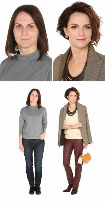 Mujer antes y después de un cambio de look radical con jeans cafés y saco a juego