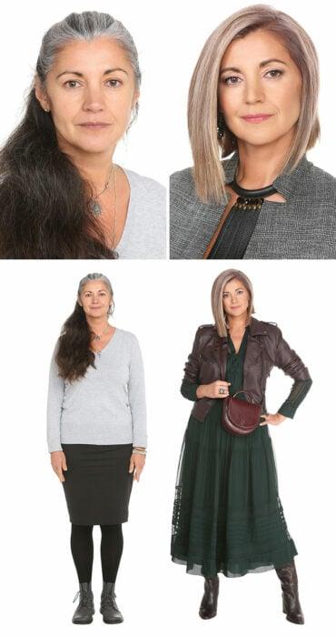 Mujer antes y después de un cambio de look radical con vestido verde y chamarra café