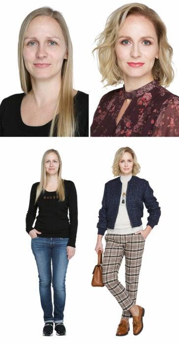 Mujer antes y después de un cambio de look radical con blazer negro y pantalones ajustadas a cuadros