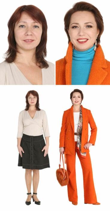 Mujer antes y después de un cambio de look radical con traje sastre en color naranja