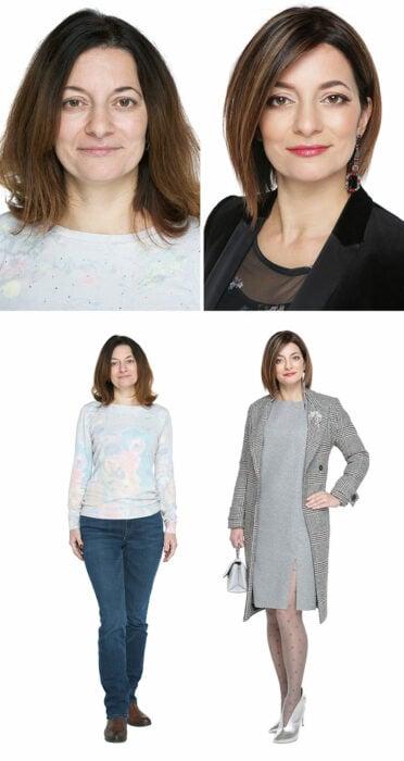 Mujer antes y después de un cambio de look radical con vestido y saco en tonos grises