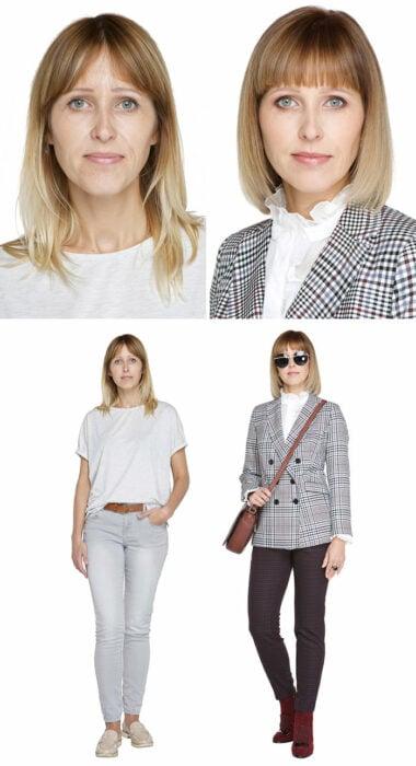 Mujer antes y después de un cambio de look radical con traje sastre a cuadros