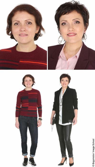 Mujer antes y después de un cambio de look radical con suetér color vino y franjas de color