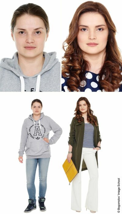Mujer antes y después de un cambio de look radical con jeans blancos y blusa a rayas